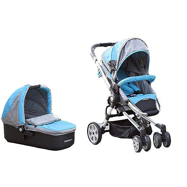Shop Bebelove 2 In 1 Aqua Blue Bassinet Stroller Free