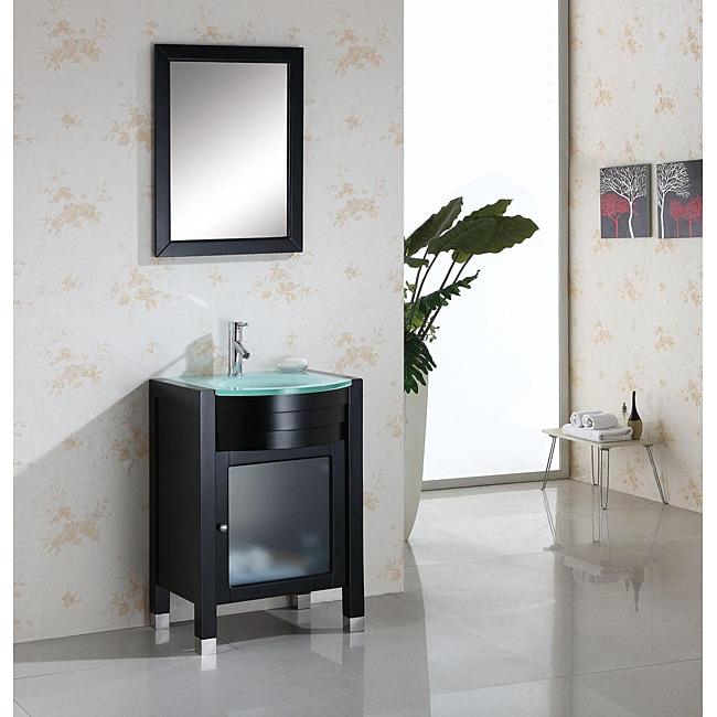 Virtu USA Suzie 24-inch Espresso Single-sink Bathroom Vanity with Mirror