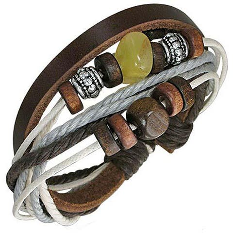 Leather and Stone ' Luna' Bracelet