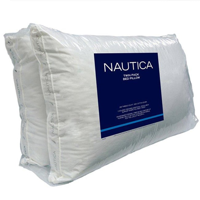 Nautica 240 Thread Count Gusseted Bed Pillows (Set of 2)
