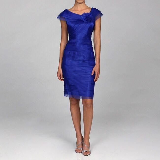 London Times Women's Shutter Pleat Organza Dress