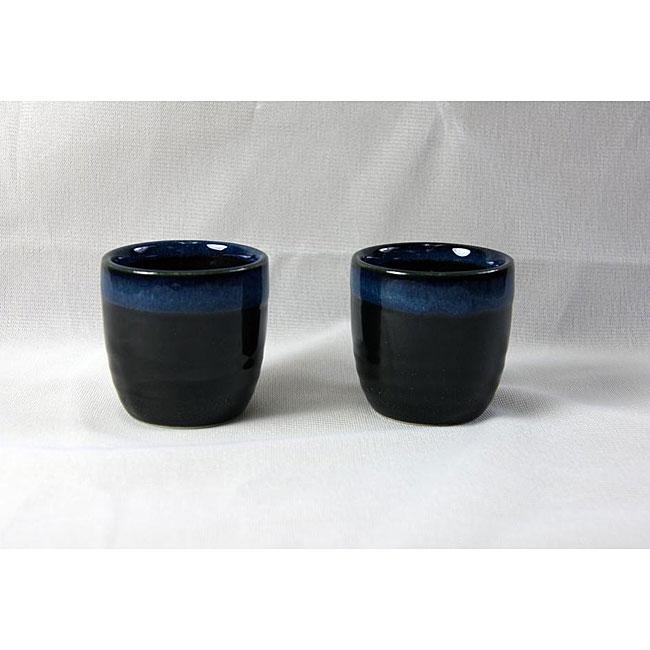Black and Blue Glaze Sake Cups (Set of 4)