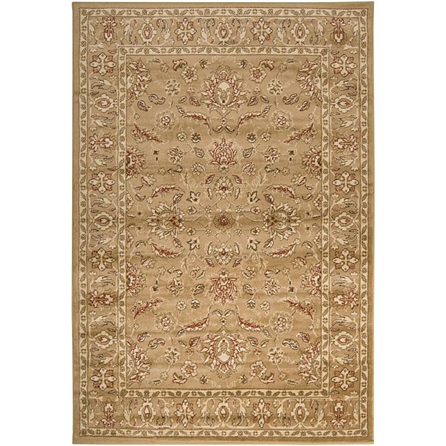 Loomed Free Form Tan Border Rug (7'9 X 11'2)