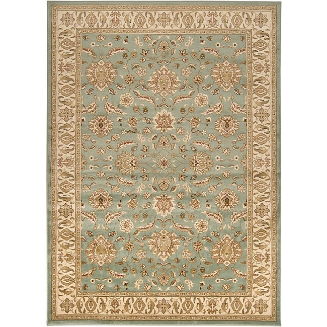 Shop Loomed Free Form Seafoam Border Area Rug (5'3 X 7'6