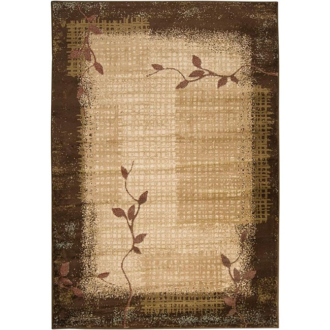 Loomed Free Form Chocolate Border Rug (7'9 x 11'2) - Thumbnail 0