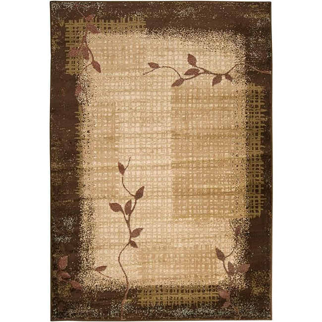 Loomed Free Form Chocolate Border Rug (7'9 x 11'2)