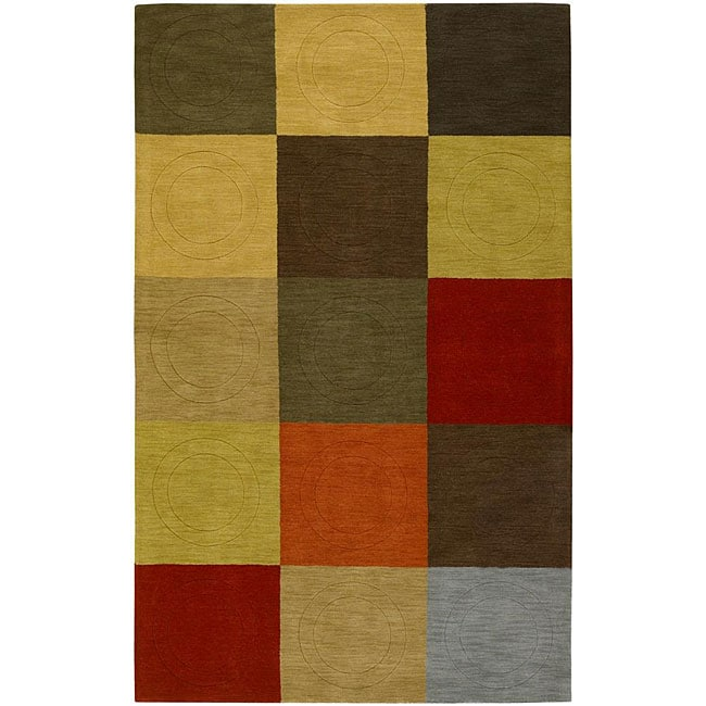 Hand-tufted Contemporary Multi Colored Square Tailored Wool Geometric Rug (9' x 13')