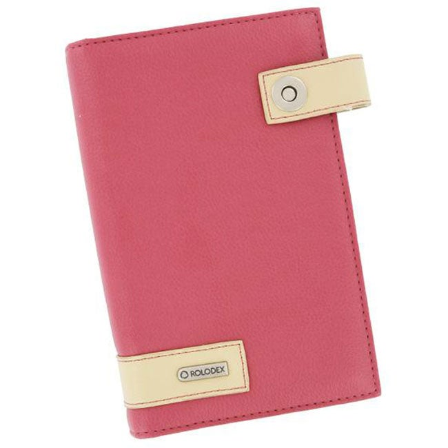 Pink Faux Leather Pocket-sized Rolodex Business Card Book for 72 Cards - Thumbnail 0