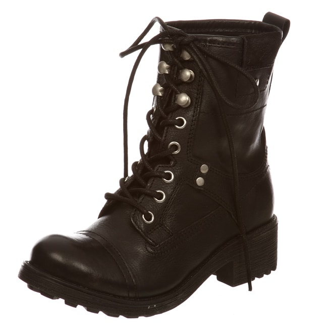 bf2991a8478 Shop Steve Madden Women s  P-Merlo  Lace-up Military Boots - Free Shipping  Today - Overstock - 5530459