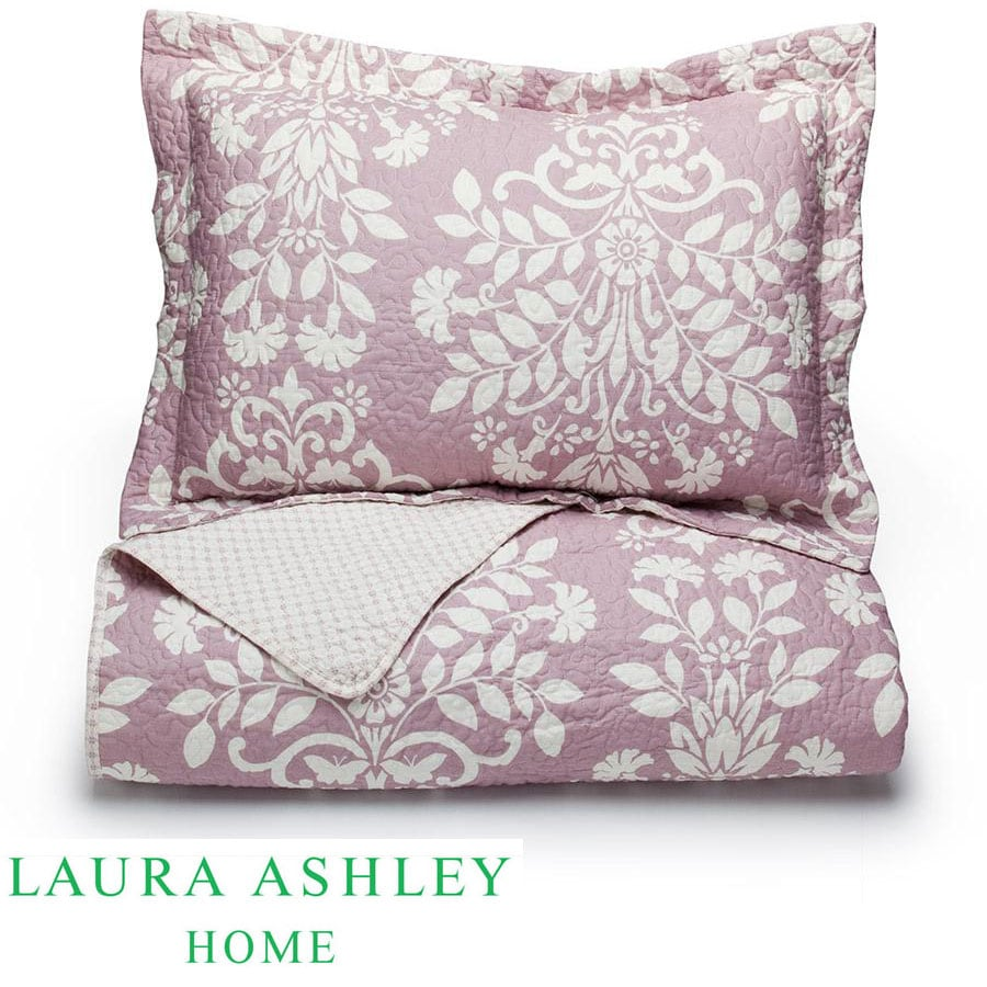 Laura Ashley Rowland Lilac 3 Piece King Size Quilt Set