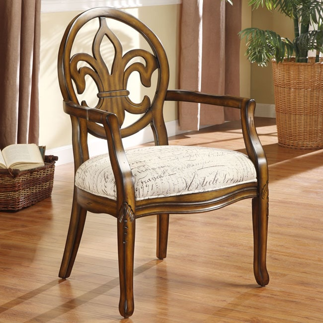 Fleur De Lis Font Parchment Arm Chair Free Shipping