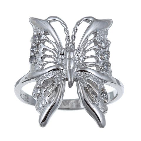 Roberto Martinez Sterling Silver Cubic Zirconia Butterfly Ring