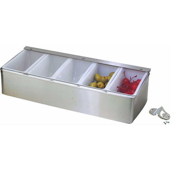 Restaurant-quality 5-compartment Condiment Dispenser and Wall-mount Bottle Opener Set