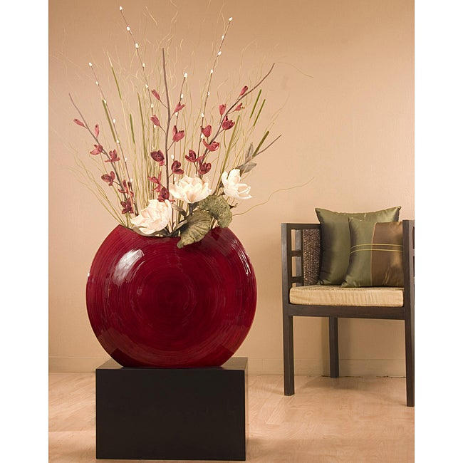 Bamboo 24 Inch Red Circular Vase With Floral Black Stand Not Included Free Shipping Today