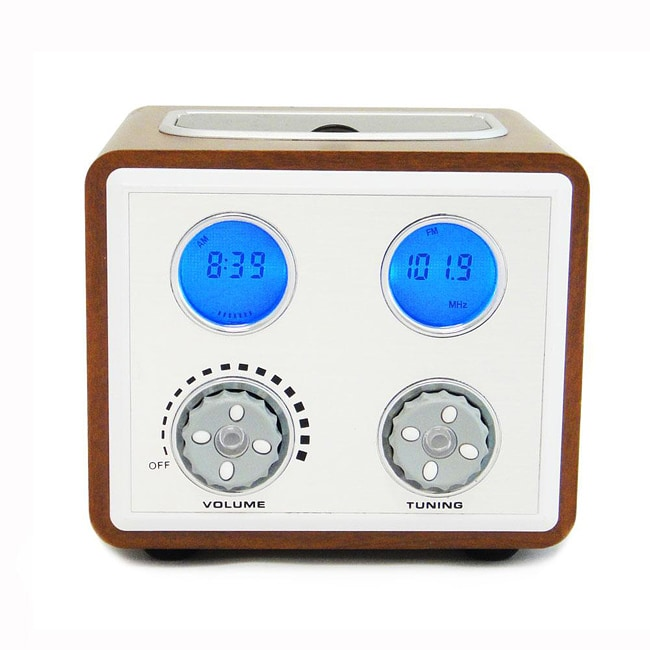 Retro Wooden MP3 Dock Clock Radio compatible for iPod and iPhone