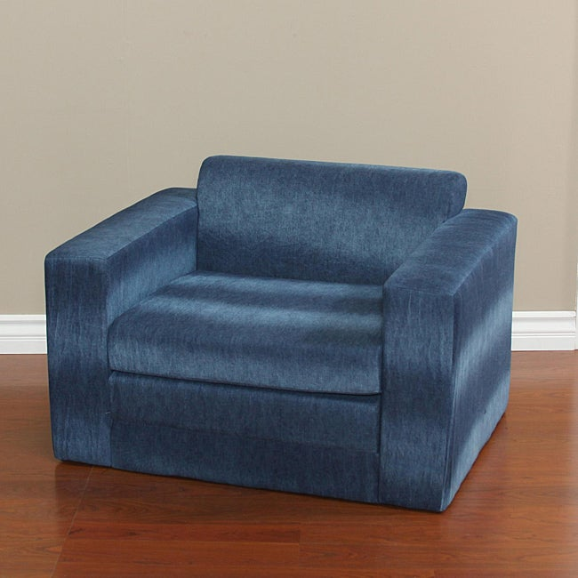 Blue Denim Kids Chair with Fold Out Sleeper Free Shipping Today Overstock