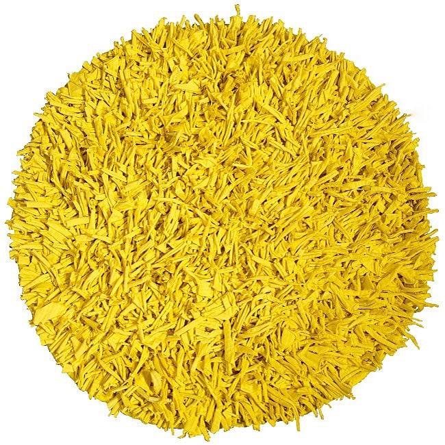 Handmade Yellow Cotton Shag Rug 4 9 Round Free