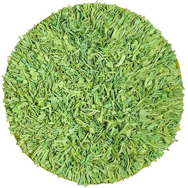 Handmade Green Cotton Shag Rug (4'9 Round) - Thumbnail 0