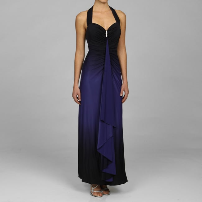 Onyx Nites Long Ombre Shirred Bodice Jersey Dress