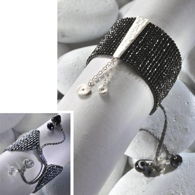 Sterling Silver Small Spiral Bar Beaded Bracelet (Colombia)