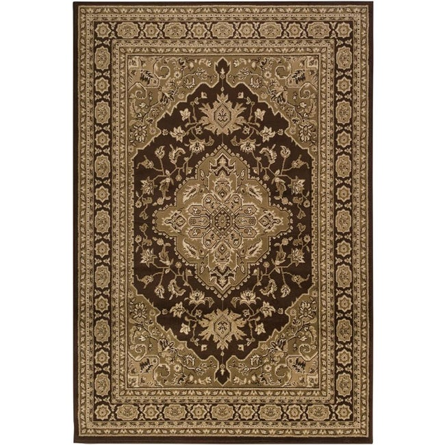 Loomed Free-form Chocolate Brown Geometric Rug (7'9 x 11'2)