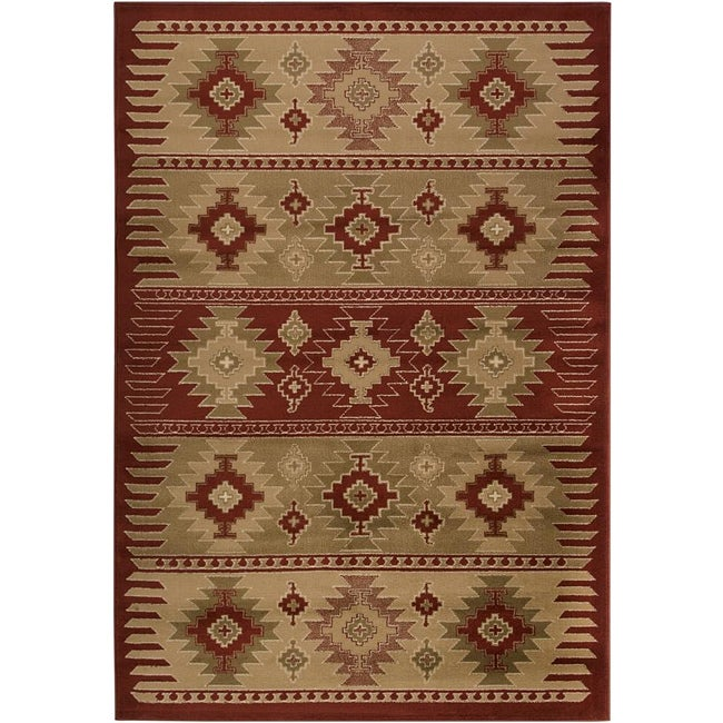 Meticulously Woven Red/Tan Southwestern Aztec Free-form Rug (7'9 x 11'2)