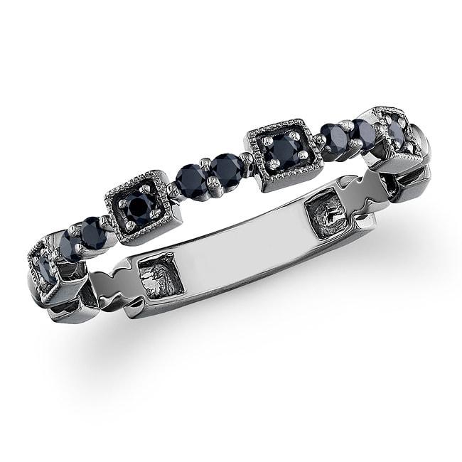 Black Sterling Silver 1/5ct TDW Black Diamond Ring
