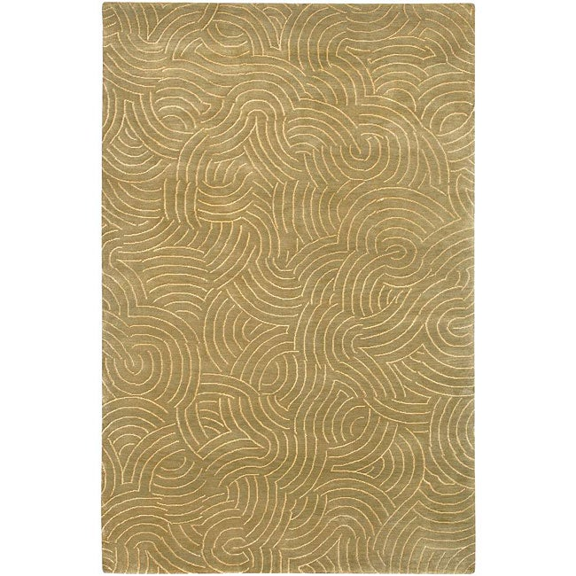 Hand-knotted Resonate Beige Abstract Design Wool Area Rug (5' x 8')