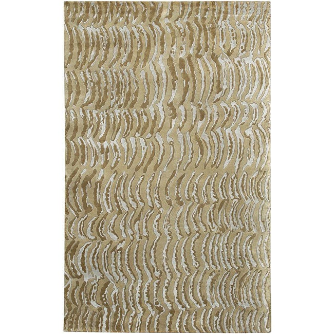 Hand-knotted Resonate Grey Abstract Design Wool Area Rug (5' x 8') - 5' x 8'