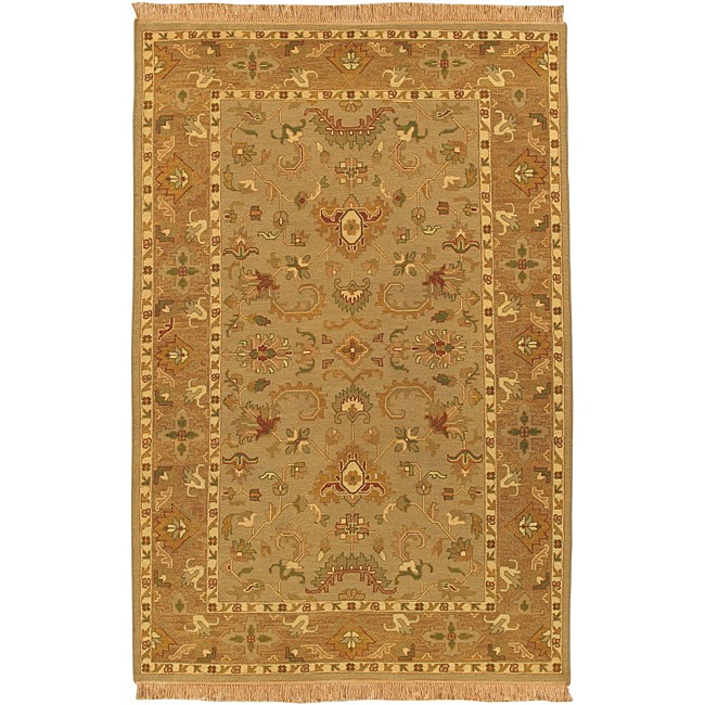 Hand-knotted Epoch Dusty Rose Wool Rug (9' x 12')