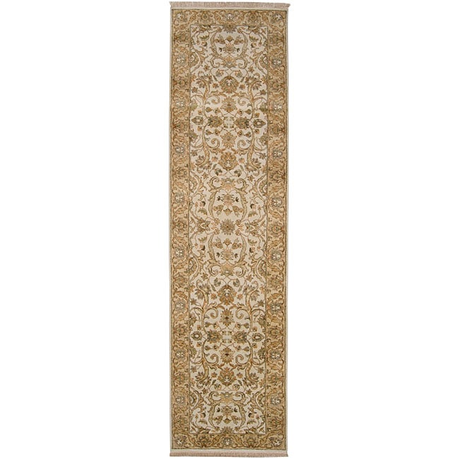 Shop Hand Knotted Amaranthine Beige Wool Rug 2 6 Quot X 10