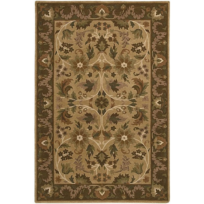Hand-knotted Neoteric Brown Wool Area Rug (5' x 8') - 5' x 8'