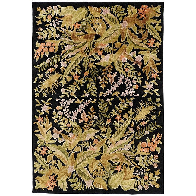Hand-knotted Contemporary Neoteric Black Wool Floral Area Rug (5' x 8')