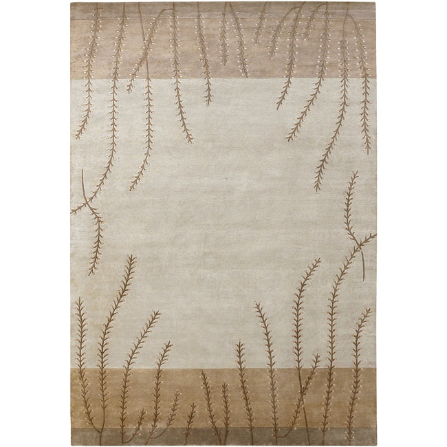 Hand-knotted Beige Floral Neoteric Beige Semi-Worsted Wool Area Rug - 9' x 13'