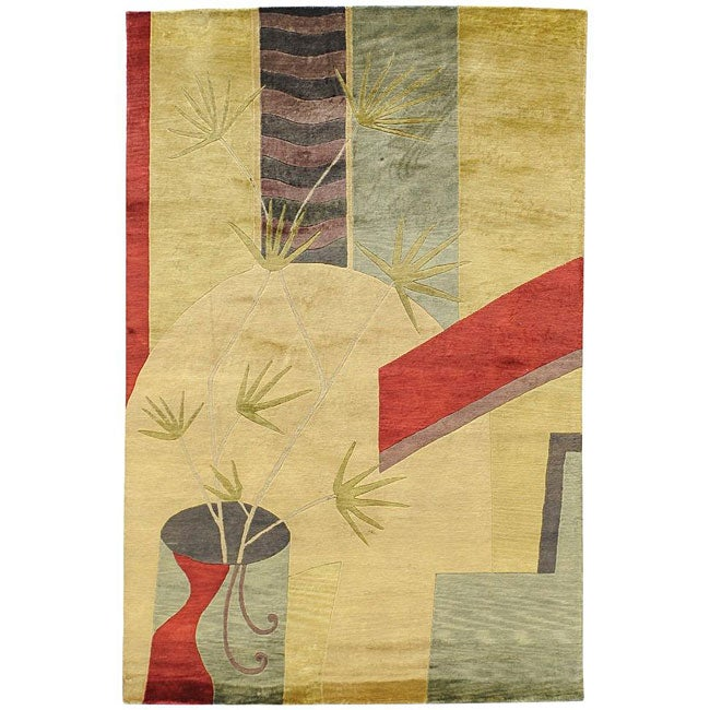 Hand-knotted Contemporary Neoteric Tan Wool Abstract Area Rug (5' x 8') - 5' x 8'