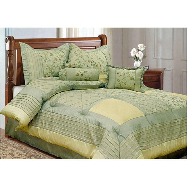 Lily Green/ Yellow 7-piece King-size Comforter Set
