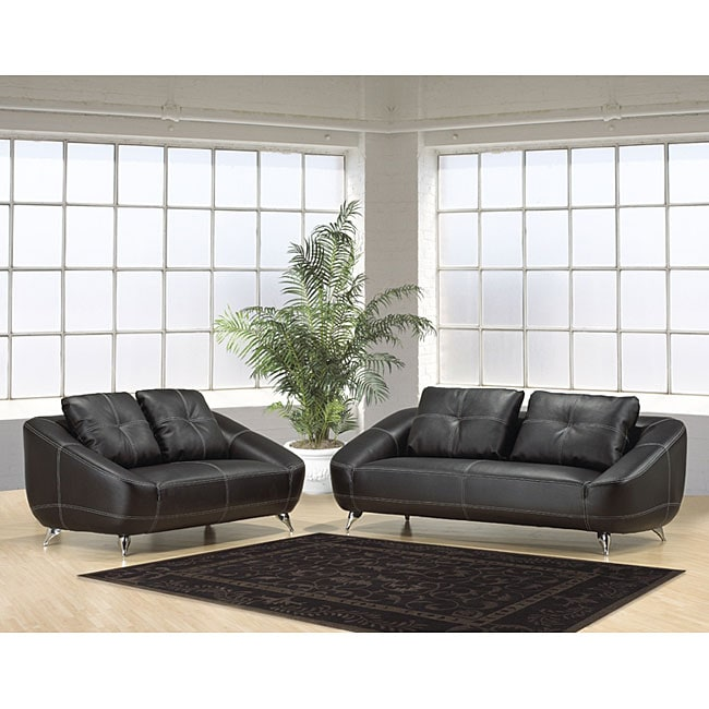 Mandalay Bay 2 Piece Black Leather Sofa Set