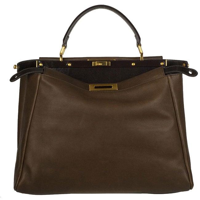 Fendi Peek-A-Boo Brown Leather Tote Bag