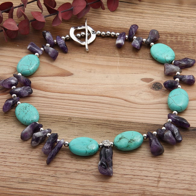 Silverplated Rite of Passage Turquoise and Amethyst Necklace