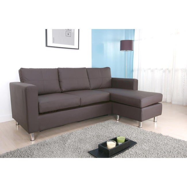 San francisco dark brown convertible sectional sofa and for Taylor sectional sofa and ottoman dark brown