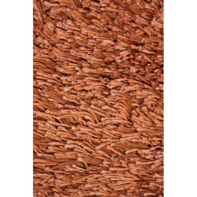 Hand-made Orange Wool Shag Rug (5' x 8')