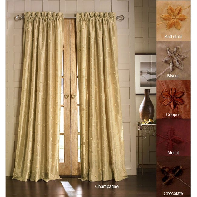 Lambrequin Jasmine Embroidered Faux Silk 96-inch Curtain Panel