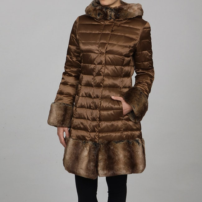 1 Madison Women S Quilted Faux Fur Trim Coat Free