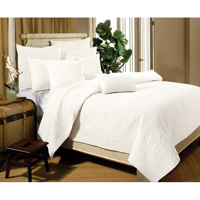bamboo whisper white king size 3 piece quilt set free shipping today 13333450. Black Bedroom Furniture Sets. Home Design Ideas