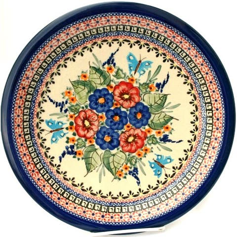 Handmade Ceramic Stoneware Cream and Blue Floral 10.75-inch Dinner Plate (Poland)