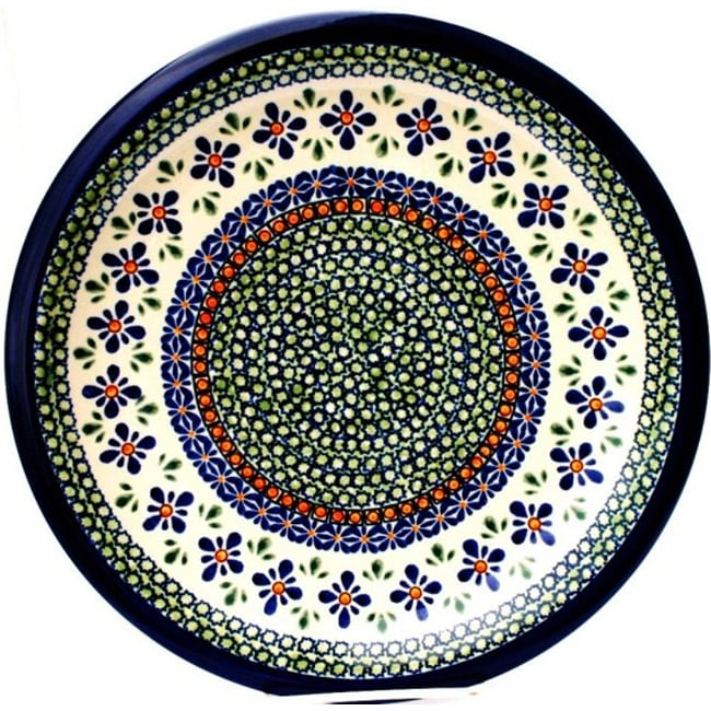 Handmade Ceramic Stoneware Blue and Orange 10.75-inch Dinner Plate (Poland) - Thumbnail 0