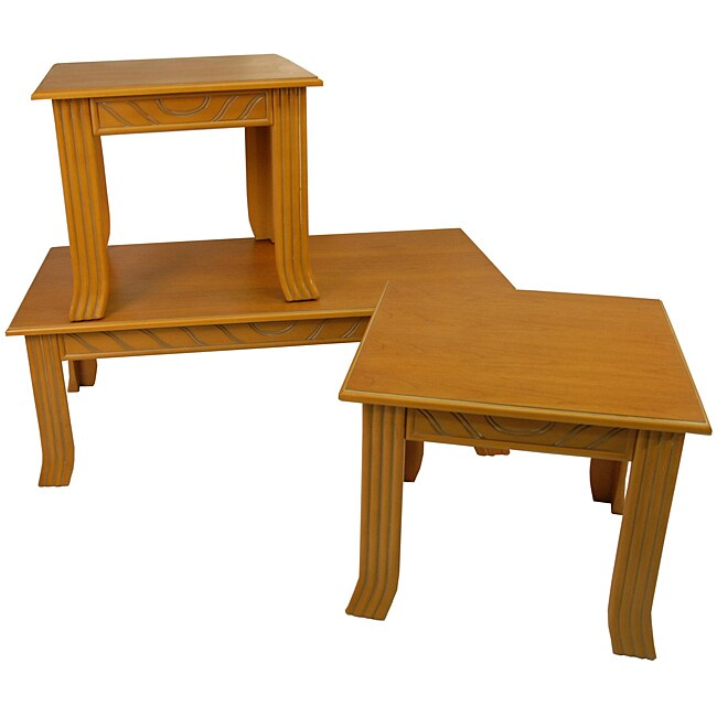 Cheyenne Honey Pine 3 Piece Occasional Table Set Free