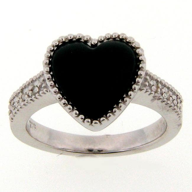 Meredith Leigh Sterling Silver Heart-cut Onyx Ring