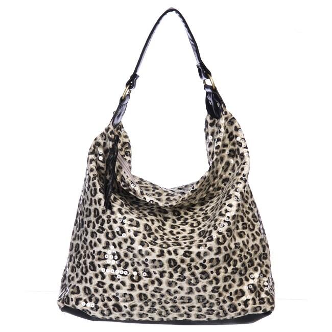 Del Cesca Sequin Leopard Hobo Bag
