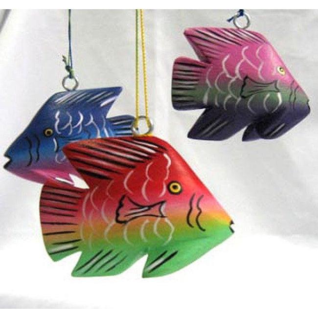 [Handmade] Set Of 3 Balsa Wood Fish Ornaments (Nicaragua